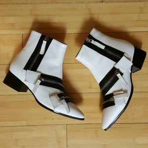 Jeffrey  Campbell White  Ankle with  zippers